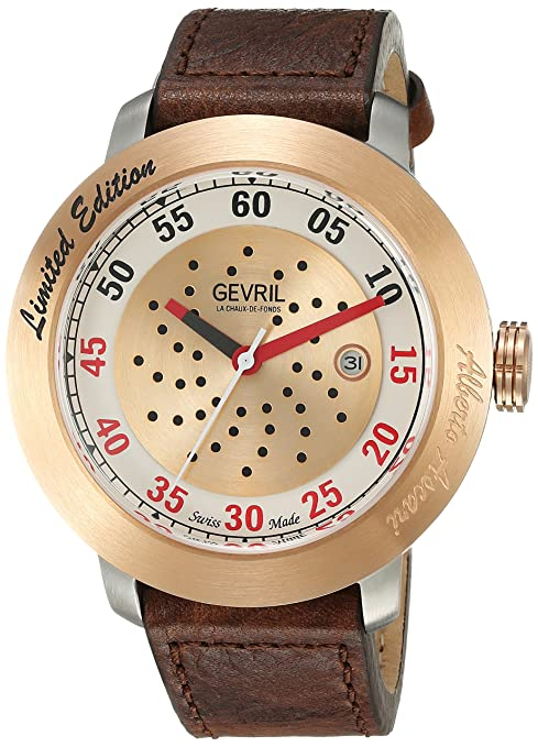 Gevril Men's Analog Swiss-Automatic Watch with Leather Strap 1101