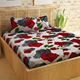 Story@Home Bedsheet for Double Bed with 2 Pillow Covers Combo Set, 100% Cotton - Magic Series, 152 TC, Valentine Rose (Red and Black)