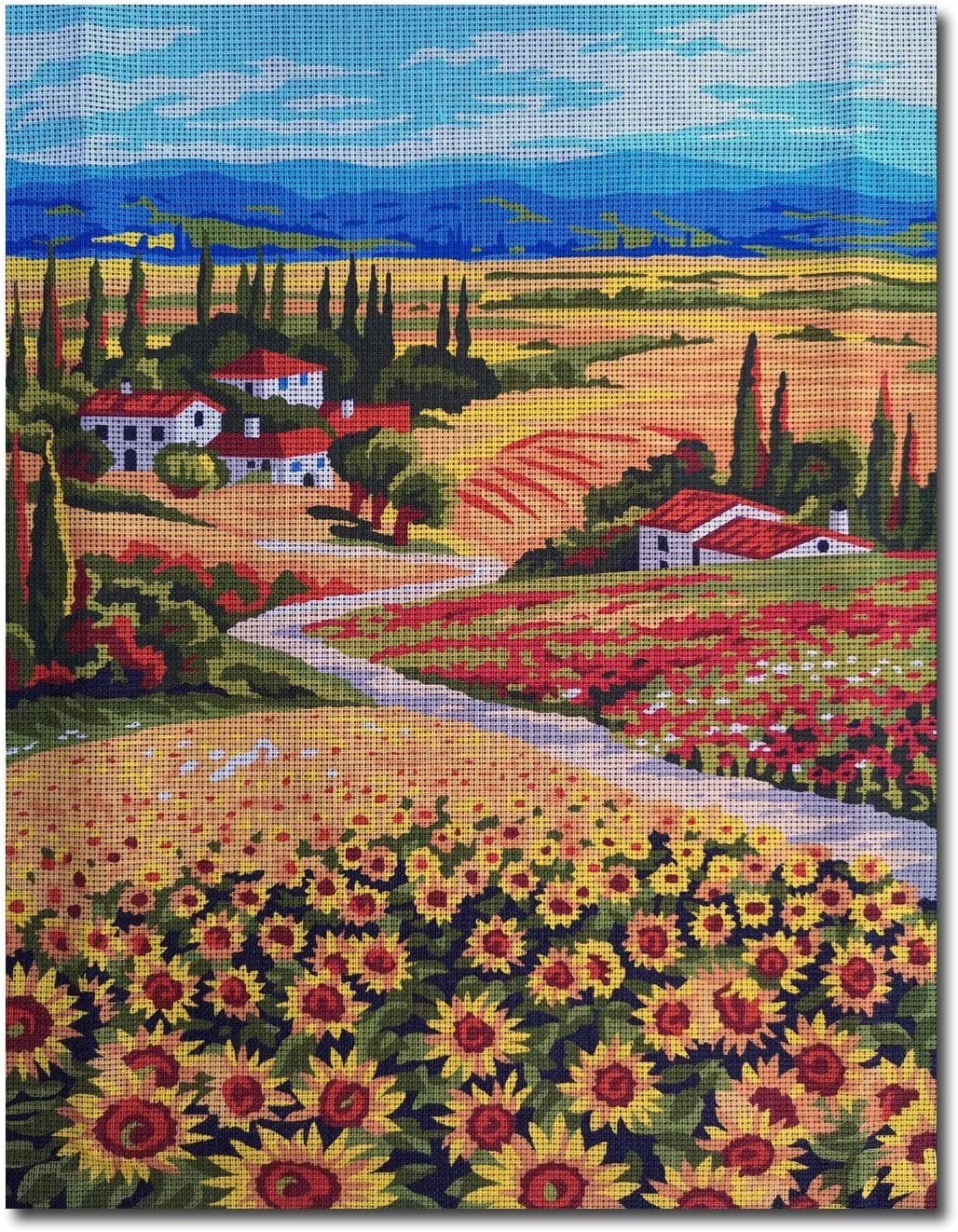 Krainer Needlepoint Kit Tuscany Landscape Made in Italy 19x15in 49x38cm Printed Canvas cod K98