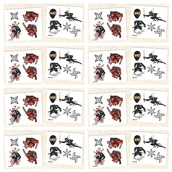 Amazon.com: 8 Pack Ninja Temporary Tattoos - Party Favors ...