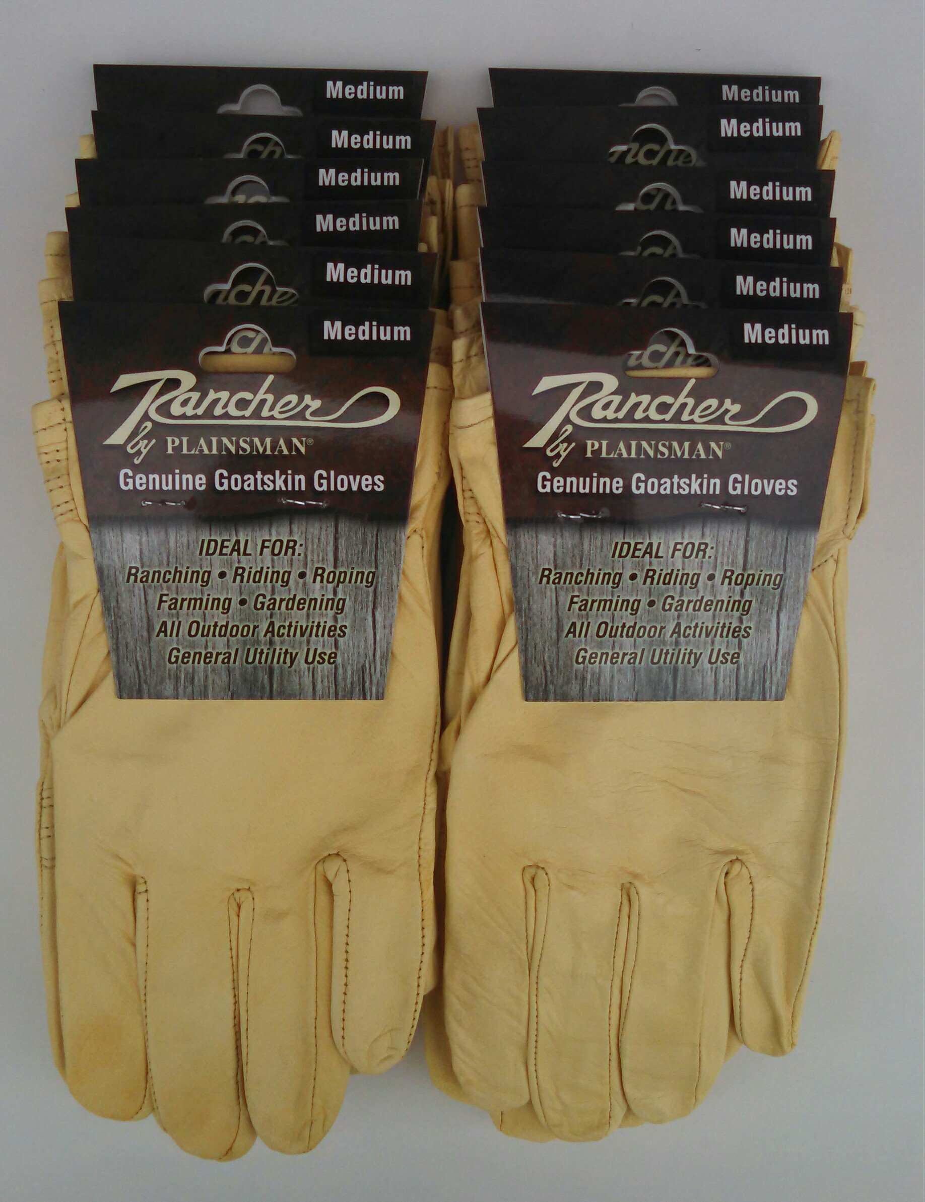 Rancher By Plainsman Goatskin Cabretta Leather Gloves MEDIUM 12 Pair Bundle by Rancher By Plainsman