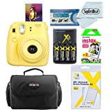 Fujifilm Instax Mini 8 Instant Film Camera (Yellow) With Fujifilm Instax Mini Instant Film Twin Pack (20 Sheets) + Compact Bag Case + Batteries & Battery Charger