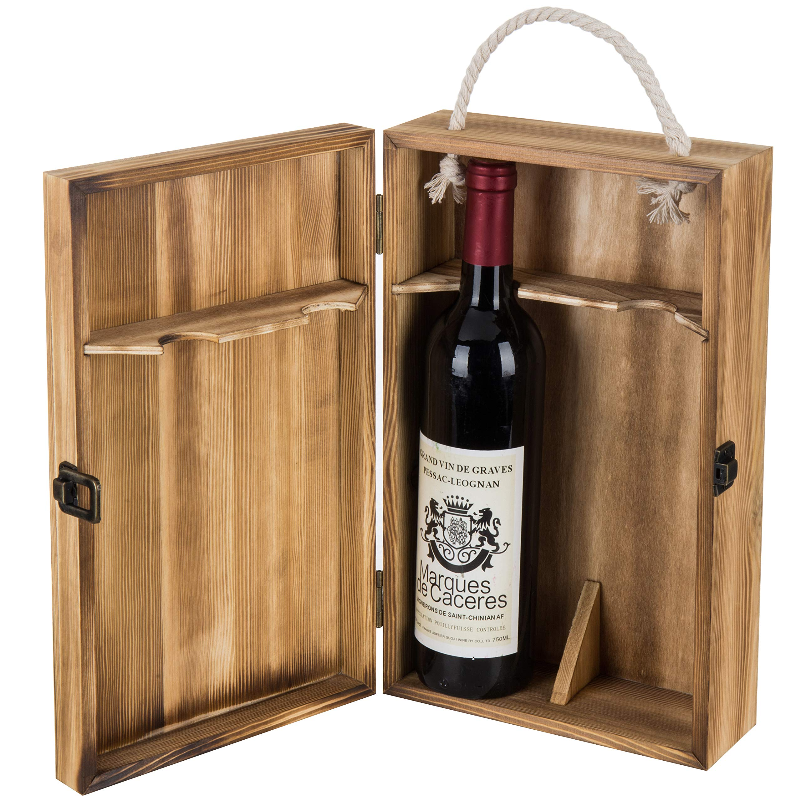 MyGift Dark Torched Wood Double Bottle Wine Case, Top Handle Hinged Lid Carrier, Brown by MyGift
