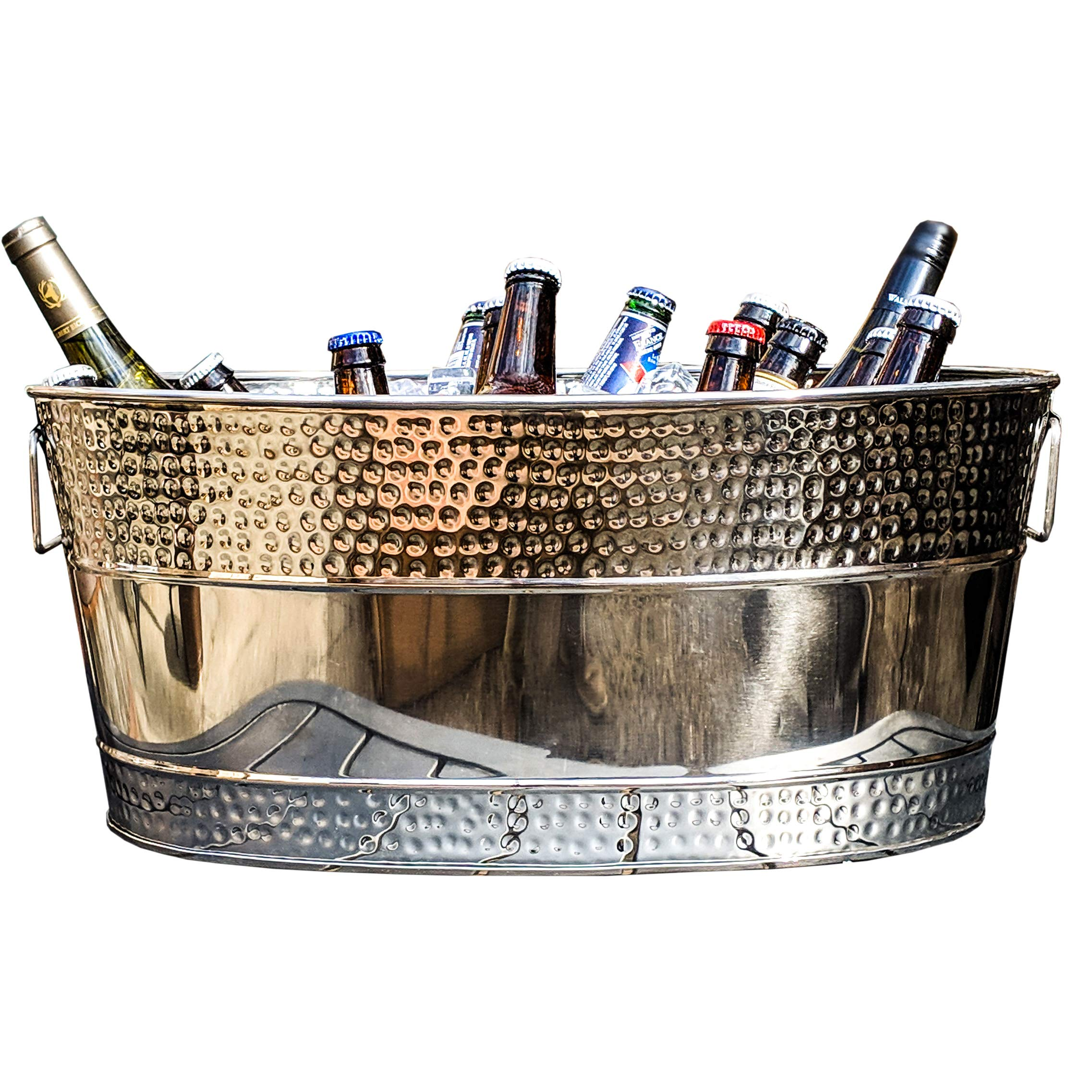 BREKX Aspen Hammered Stainless Steel Beverage Tub & Party Drink Chiller - 25 Quarts - Mirror-Silver by BREKX