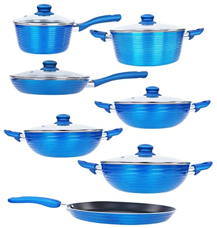 Nirlon Aluminium Cookware Set, 7-Pieces, Blue (FGD_1234567) Pot & Pan Sets at amazon