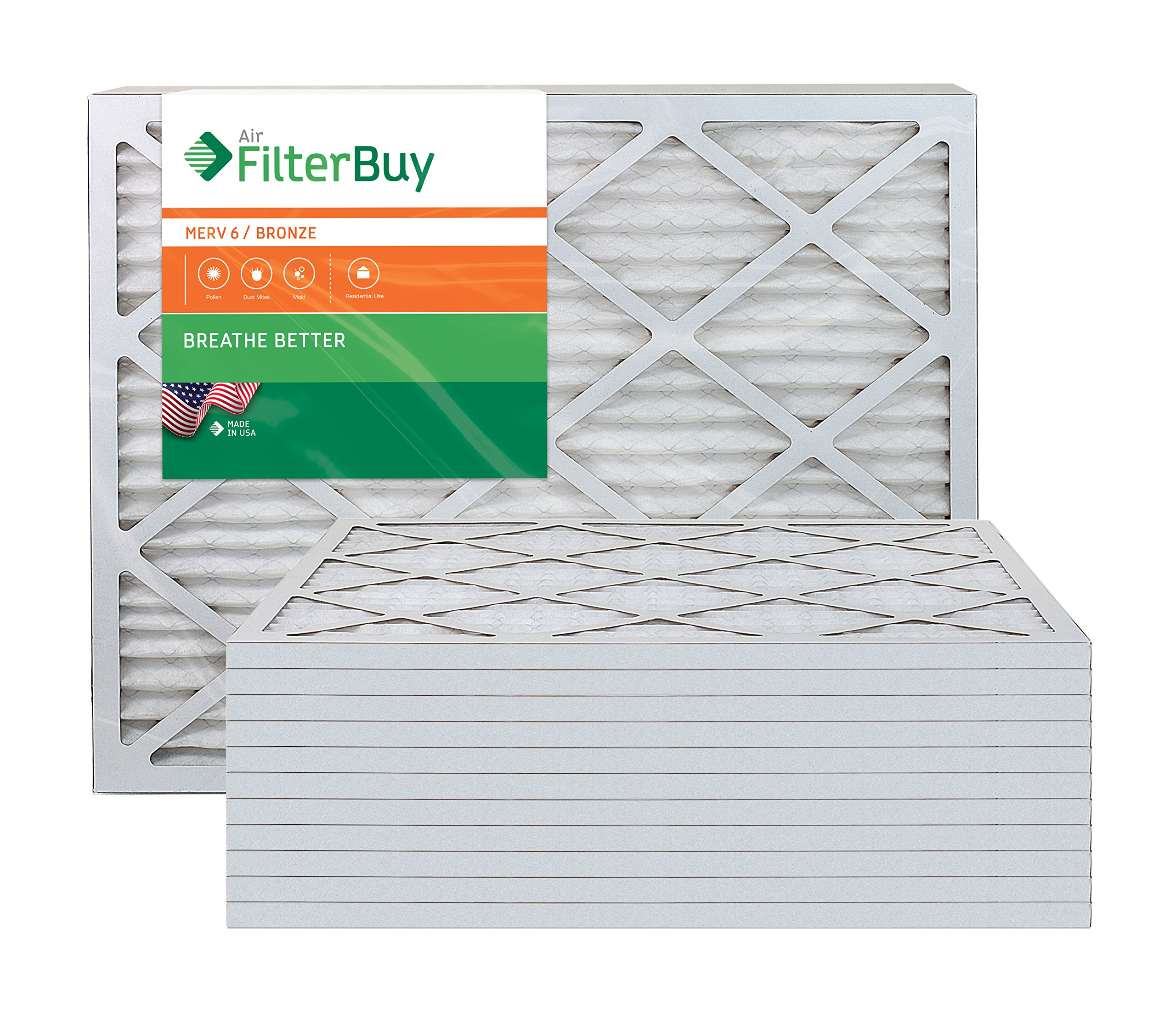 AFB Bronze MERV 6 20x23x1 Pleated AC Furnace Air Filter. Pack of 12 Filters. 100% produced in the USA.