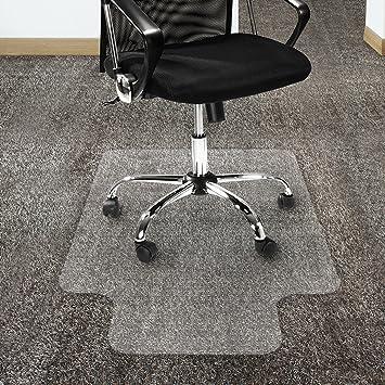 Etm - Protector de alfombra de policarbonato antideslizante, transparente, con reverso rugoso, para sillas de oficina, plástico, Transparente, ...