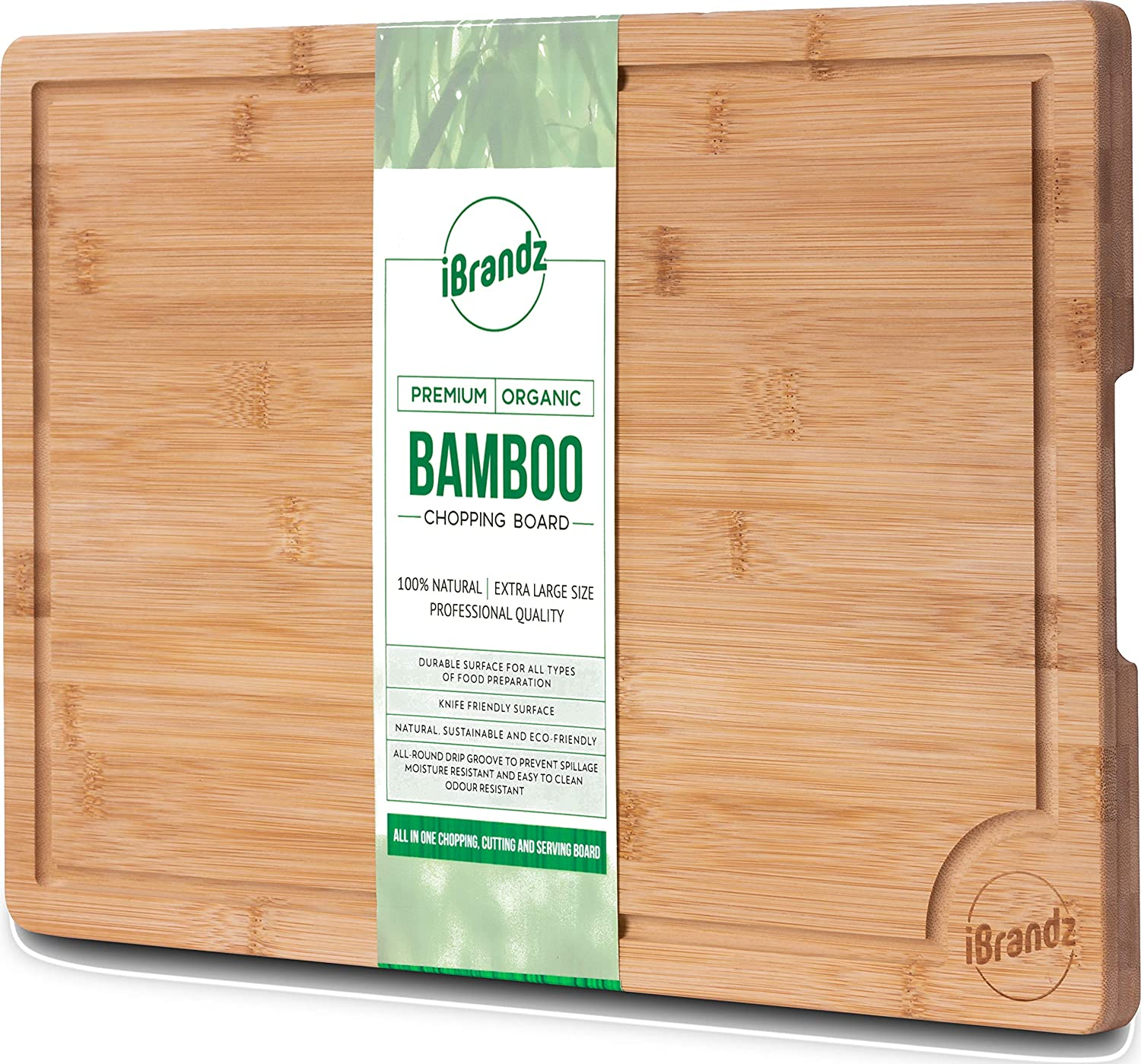 iBrandz Premium Extra Large Eco-friendly 100% Organic Bamboo Wood Chopping Board With Drip / Juice Groove. Professional Grade Kitchen Chopping Board For Meat (Butcher Block) Cheese Vegetables And Bread. Anti Microbial Heavy Duty Cutting Board And Serving