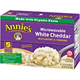 Annie's Macaroni and Cheese, Microwavable Pasta & White Cheddar Mac and Cheese, 5 Packets, 2.15 oz Each (Pack of 6)