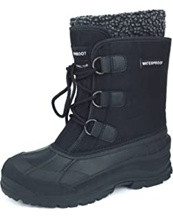 Men's Winter Snow Boots Shoes Waterproof Insulated Lace UP (DM) RAIN-FUR BLACK-11