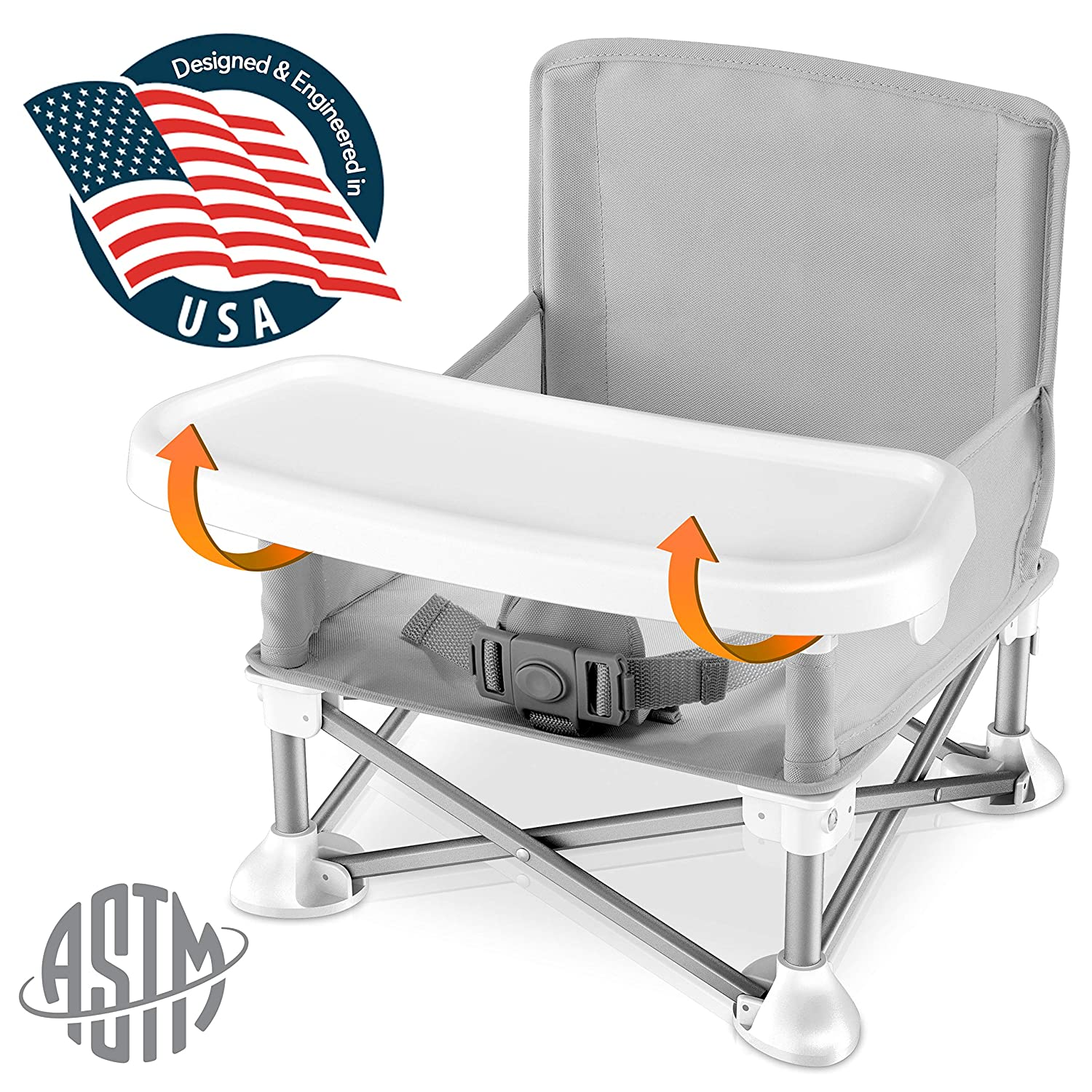 Baby Seat Booster High Chair - Portable Toddler Booster Seat -Lightweight Easy Travel Pop-n-Sit Folding Booster Feeding Chair w/ Aluminum frame, Safety Belt for Camping/Beach/Lawn WeatherproofSLBS66