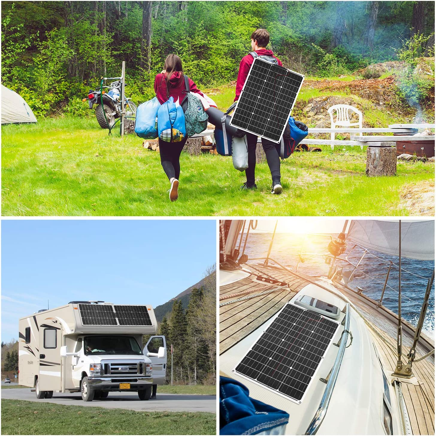 2.6lb with Controller 2 USB Output Highly efficient DOKIO Semi-Flexible Solar Panel 50W 12V Lightweight for Caravan RV Boat Camper Trailer Thin Film Monocrystalline
