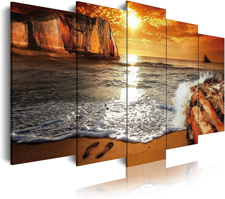DekoArte - Cuadros Modernos Impresión de Imagen Artística Digitalizada | Lienzo Decorativo Para Tu Salón o Dormitorio | Estilo Paisaje Puesta de Sol en Playa | 5 Piezas 150 x 80 cm