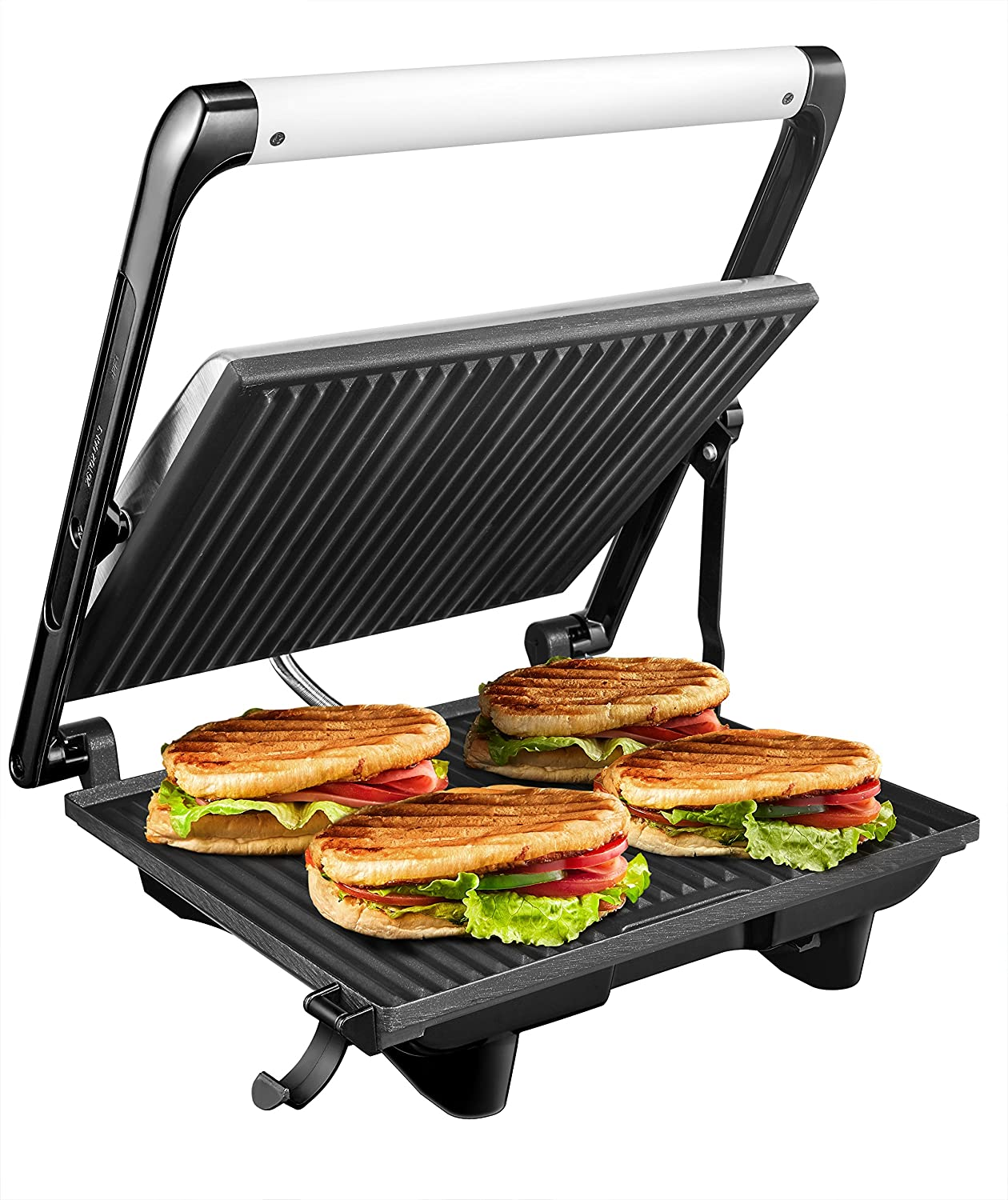 Panini Press Gourmet Sandwich Maker, 4-Slice Extra Large Panini Press Grill with Non-Stick Coated Plates and Removable Drip Tray, Stainless Steel, 1200W