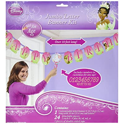 Amscan Dazzling Disney Tiana Enchanted Jumbo Add-An-Age Letter Birthday Party Banner Decoration (1 Piece), 10 1/2', Pink/Green: Toys & Games