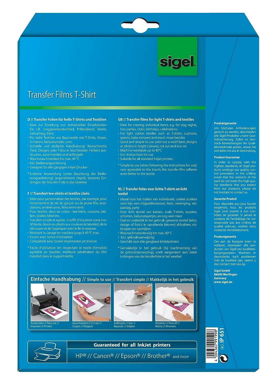 A4 InkJet-transfer para camisetas colores oscuros 6+6 hojas 250 /µm Sigel Hot Deal