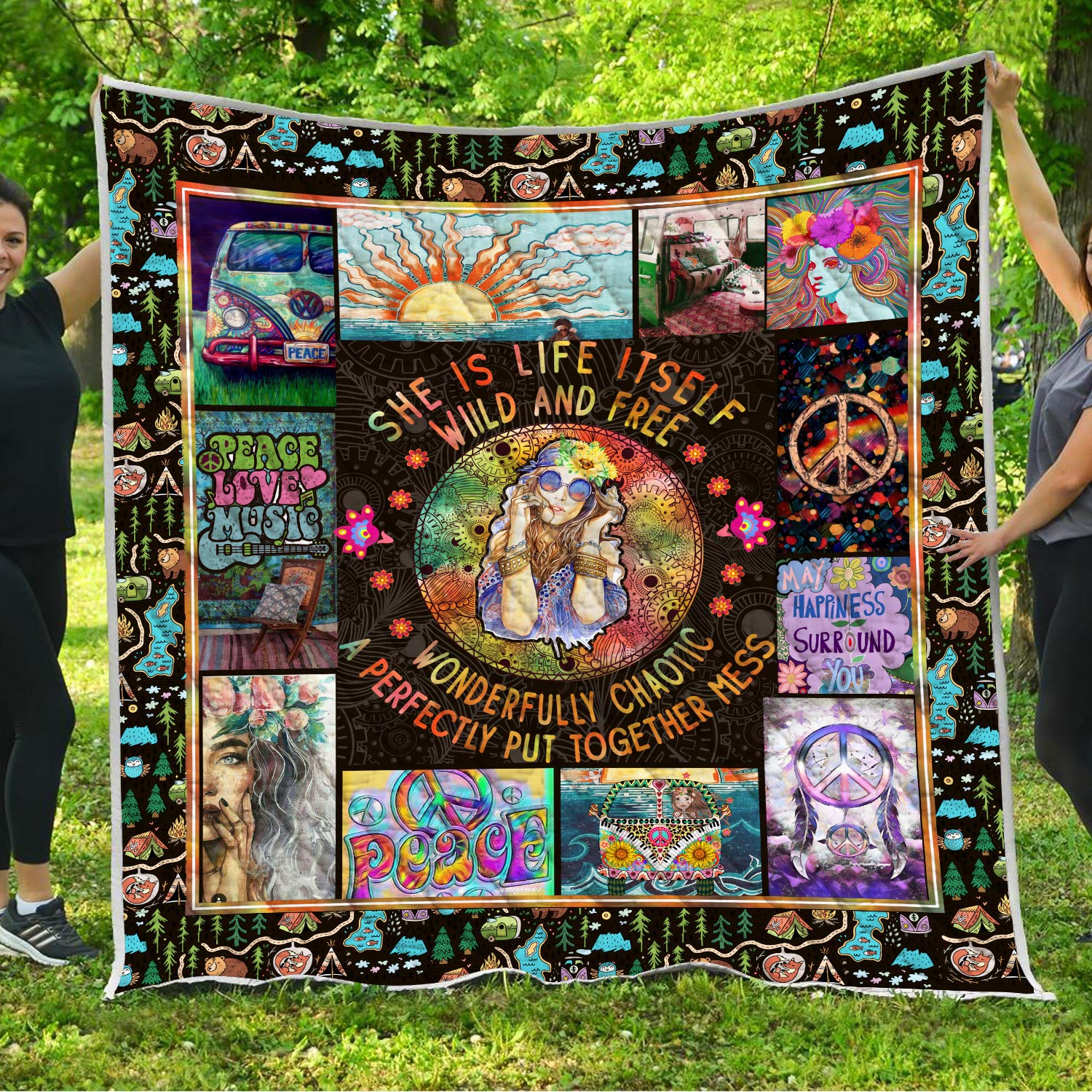 VTH Global Hippie Girls Quilt Blankets Comforters with Reversible Cotton King Queen Full Twin Size Christmas Birthday Mandala Bohemian Boho Sign Symbol Gifts for Women Kids Teens Daughter Mom by VTH Global