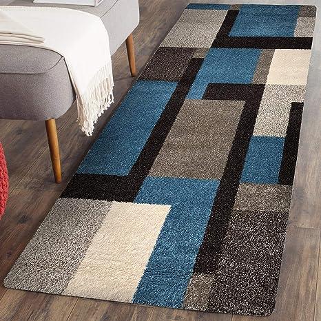 Prestige Decor Area Rugs 2x5 Living Room Rug Carpet Blue Grey Rugs for  Living Room Bedroom Kitchen Rug Clearance Geometric Design Runner