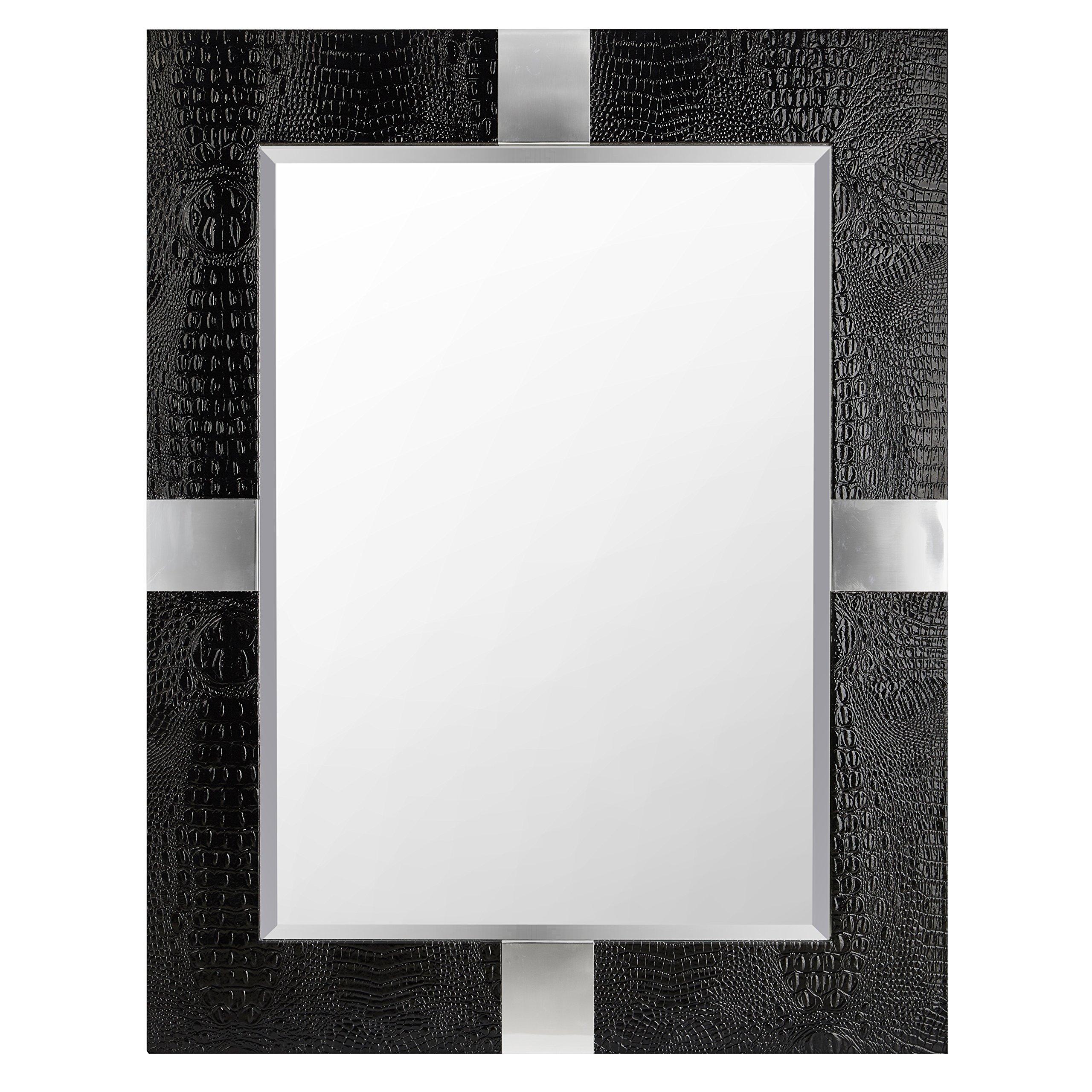 Impressive Animal Skin Patterned Faux Leather Mirror, Black