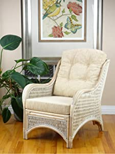 Jam Design Natural Rattan Handmade Wicker White Wash Lounge Chair with Cream Cushions