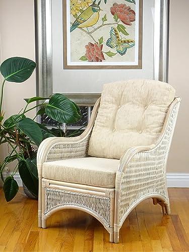 Jam Design Natural Rattan Handmade Wicker White Wash Lounge Chair with Cream Cushions