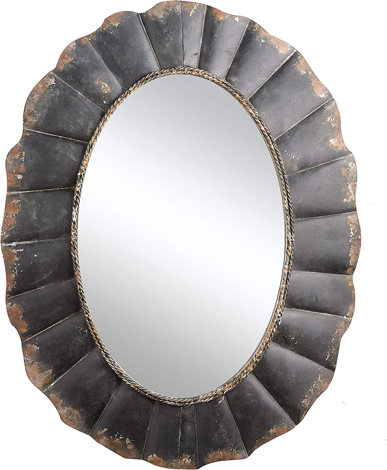 Creative Co-op Oval Mirror with Distressed Black Scalloped Metal Frame