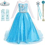 Princess Costumes Birthday Party Dress Up for Little Girls with Wig,Crown,Wand,Gloves Accessories Age 2-12 Years