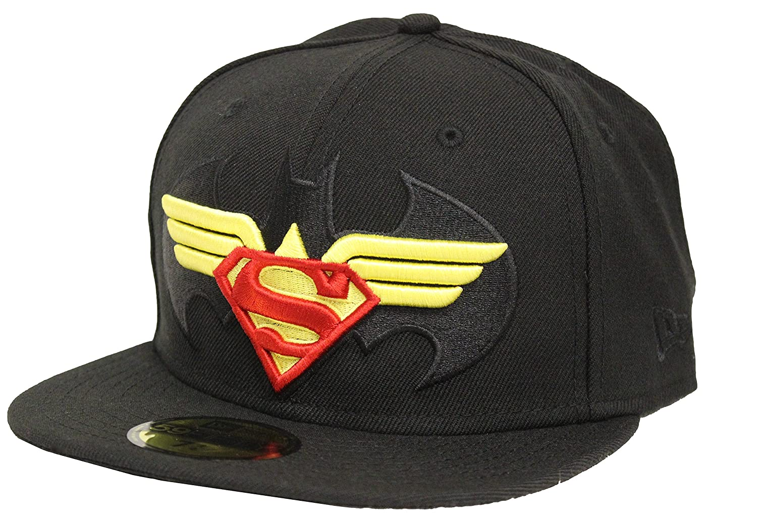 New Era 59Fifty Batman V Superman Dawn of Justice Trinity Logo Black Fitted  Hat (7 1 2) at Amazon Men s Clothing store  bc4c1016b07