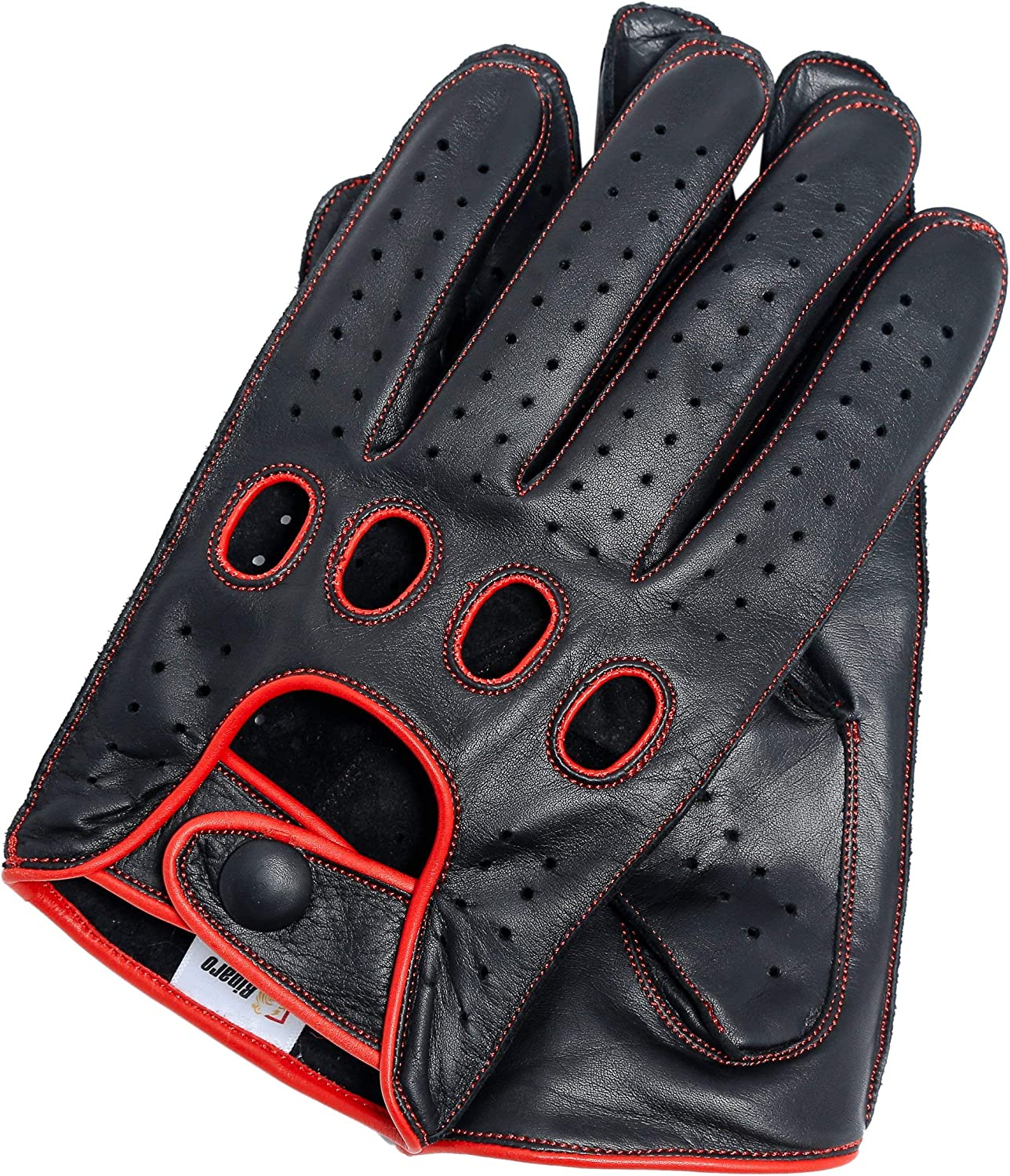 Riparo Women Genuine Leather Reverse Stitched Full-Finger Driving Motorcycle Gloves