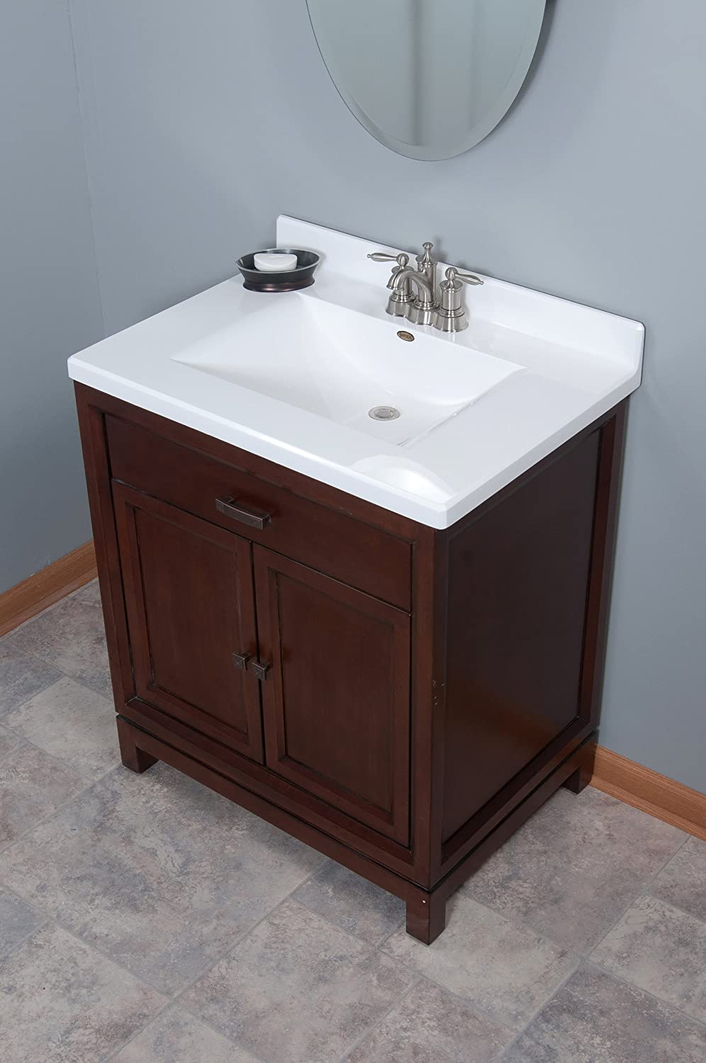 Imperial FW3122SPW Center Wave Bowl Bathroom Vanity Top, Solid White Gloss  Finish, 31 Inch Wide By 22 Inch Deep   Vanity Sinks   Amazon.com