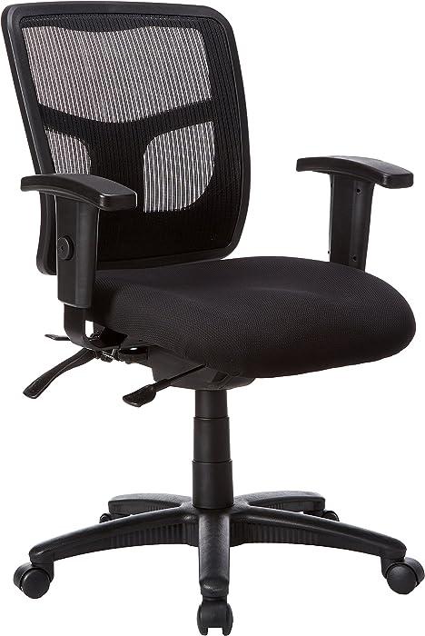 Lorell Ergomesh Chair, Mesh Back/Black Fabric Seat