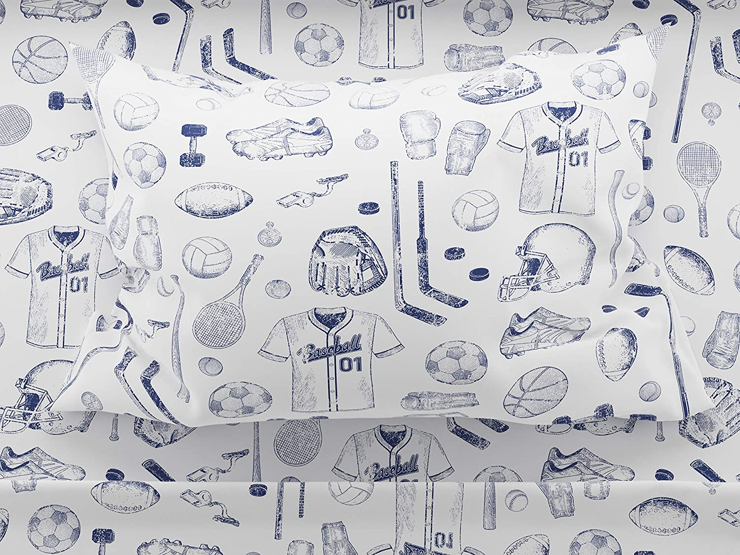 Where the Polka Dots Roam Sports Sheet Set Queen Size, for Football, Basketball, Baseball, Tennis, Hockey, Track in Blue and White