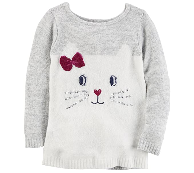a34c5d2c9 Amazon.com: Carter's Girls' 12M-8 Kitty Face Sweater: Clothing