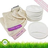DinaAndDon - Premium Abschminkpads Wattepads aus Bambus Velour, Extra Flauschig, Waschbar und Wiederverwendbar, Wäschenetz plus Aufbewahrungsnetz aus Baumwolle, Zero Waste