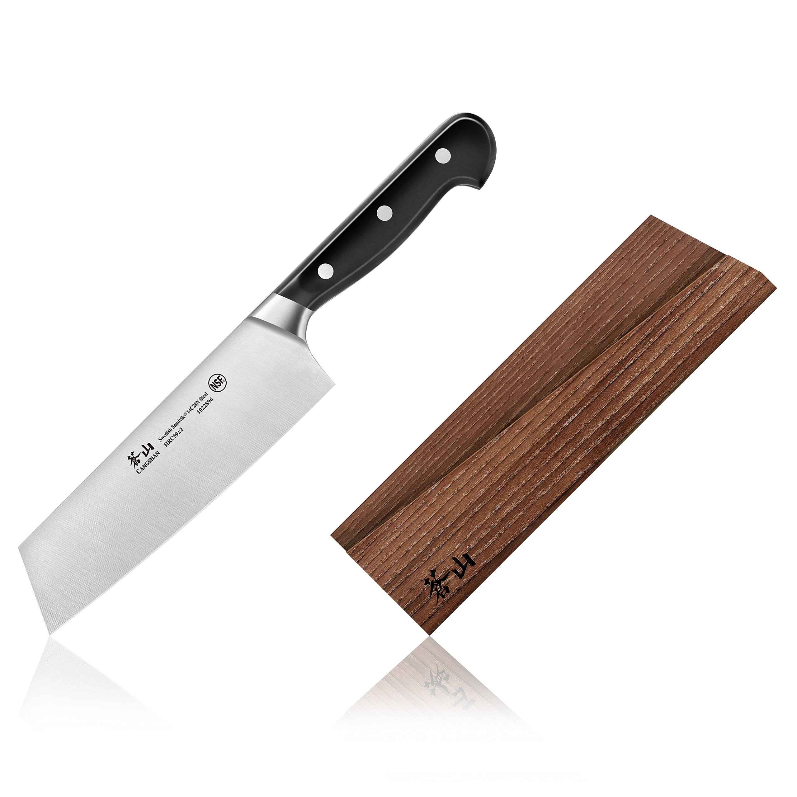 Cangshan TV2 Series 1022902 Swedish Sandvik 14C28N Steel Forged 7-Inch Nakiri Knife and Wood Sheath Set