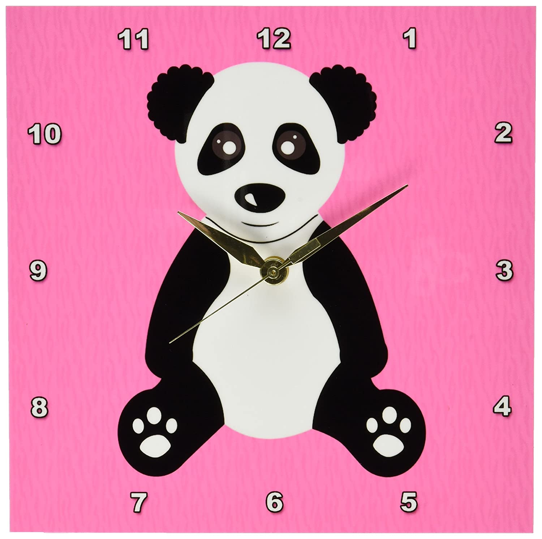 3dRose dpp/_40914/_1 Cute Cartoon Panda on Pink Fur Print Background Wall Clock 10 by 10-Inch