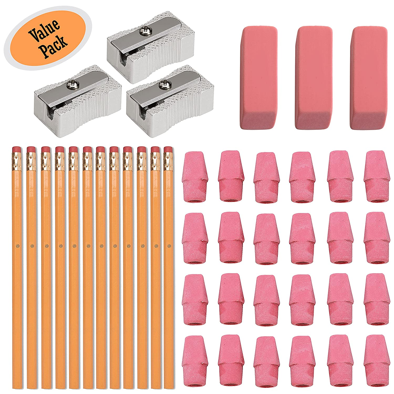 #2 HB Pencils, Wood-cased Pencils With Eraser Tops, 12 Pack - With 24 Pink Cap Erasers - With 3 Large Erasers - 100% Latex Free - With 3 Metal Pencil Sharpener - Value Pack Klingy