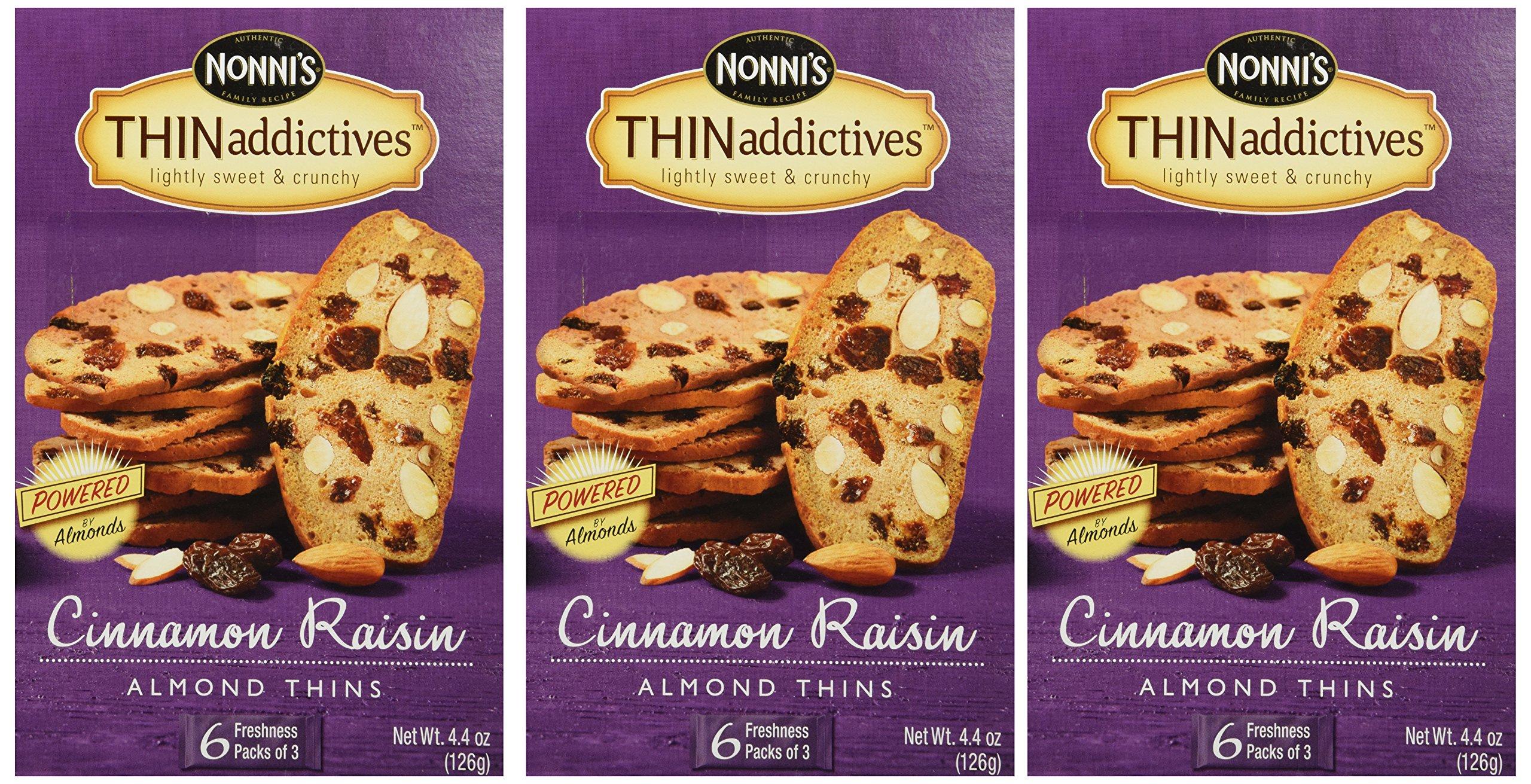 Nonni's Thin Addictives Cinnamon Raisin Almond Thins 6 pkgs ( 3 Pack)