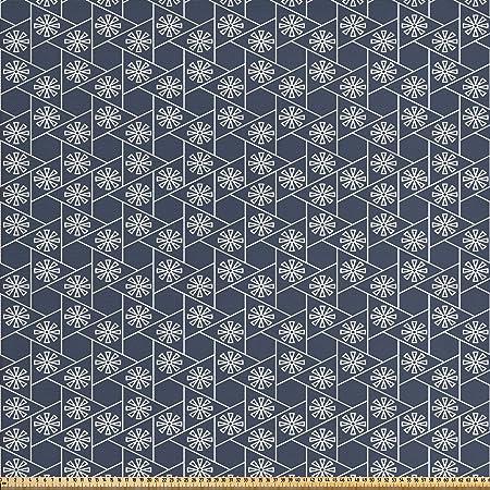 Abakuhaus Geometrique Tissu Au Metre Carrelage Japonais De L Est Tissu Satin Decoratif Pour Les Textiles De Maison Et Les Artisanats 1m 148x100cm Gris Anthracite Bleu Fonce Blanc Amazon Fr Cuisine Maison