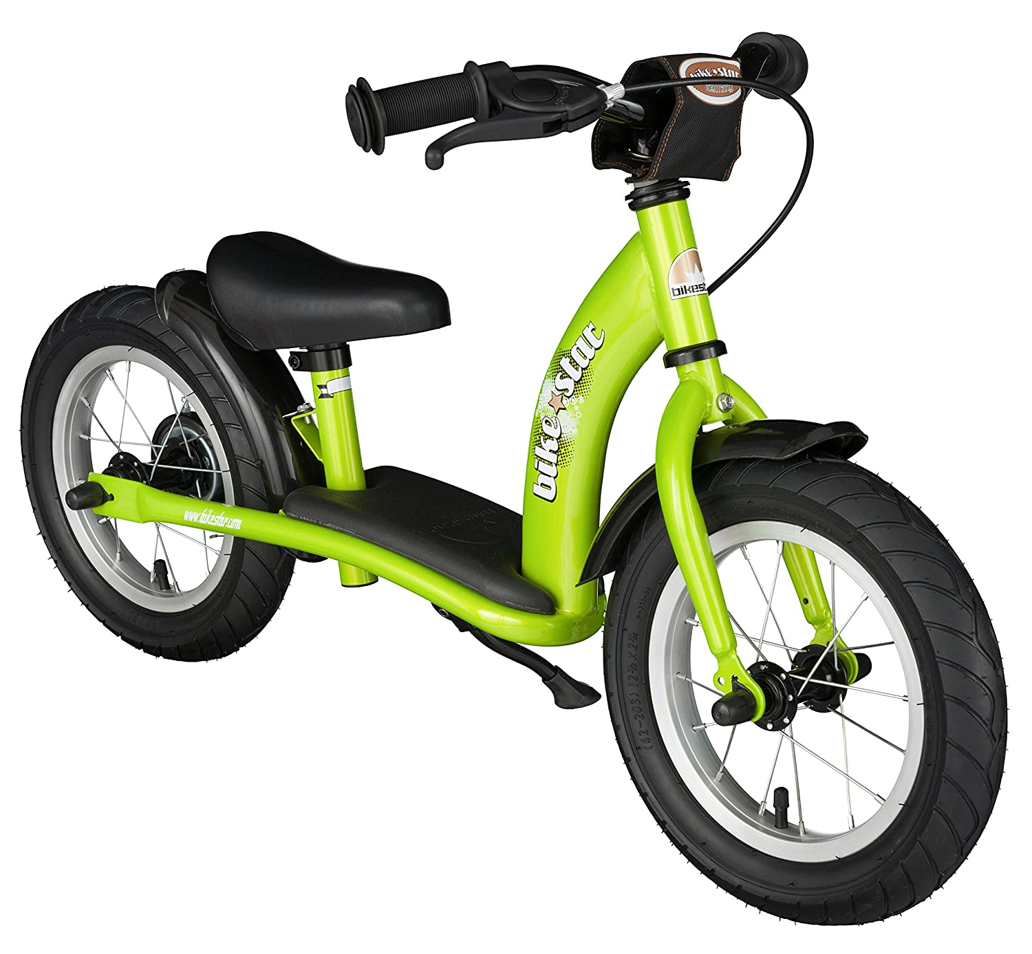 BIKESTAR Original Safety Lightweight Kids First Balance Running Bike with brakes and with air tires for age 3 year old boys and girls | 12 Inch Classic Edition | Brilliant Green Star-Trademarks