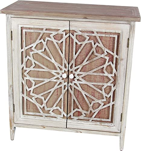 Deco 79 Wood Cabinet 28 W, 31 H, Light Brown White