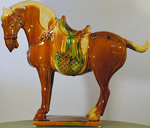 Yuyi Oriental Home D cor, 17 Porcelain Horse, Antique Replica of Tang Dynasty in China A.D.618-907 -China Horse, Tricolor Sancai Ceramic, Brown, Green and White Statue, Sculpture, Figurine-Orange