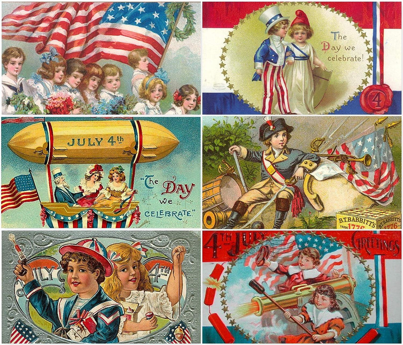Vintage Victorian 4th of July Kids Children Postcard Collage Sheet decoupage Scrapbooking Ephemera #2 on CD