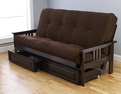 Jerry Sales Queen or Full Size Excelsior || Espresso Futon Frame w/ 8 Inch Innerspring Mattress Sofa Bed Wood Futons (Chocolate Matt, Frame, Drawers ...