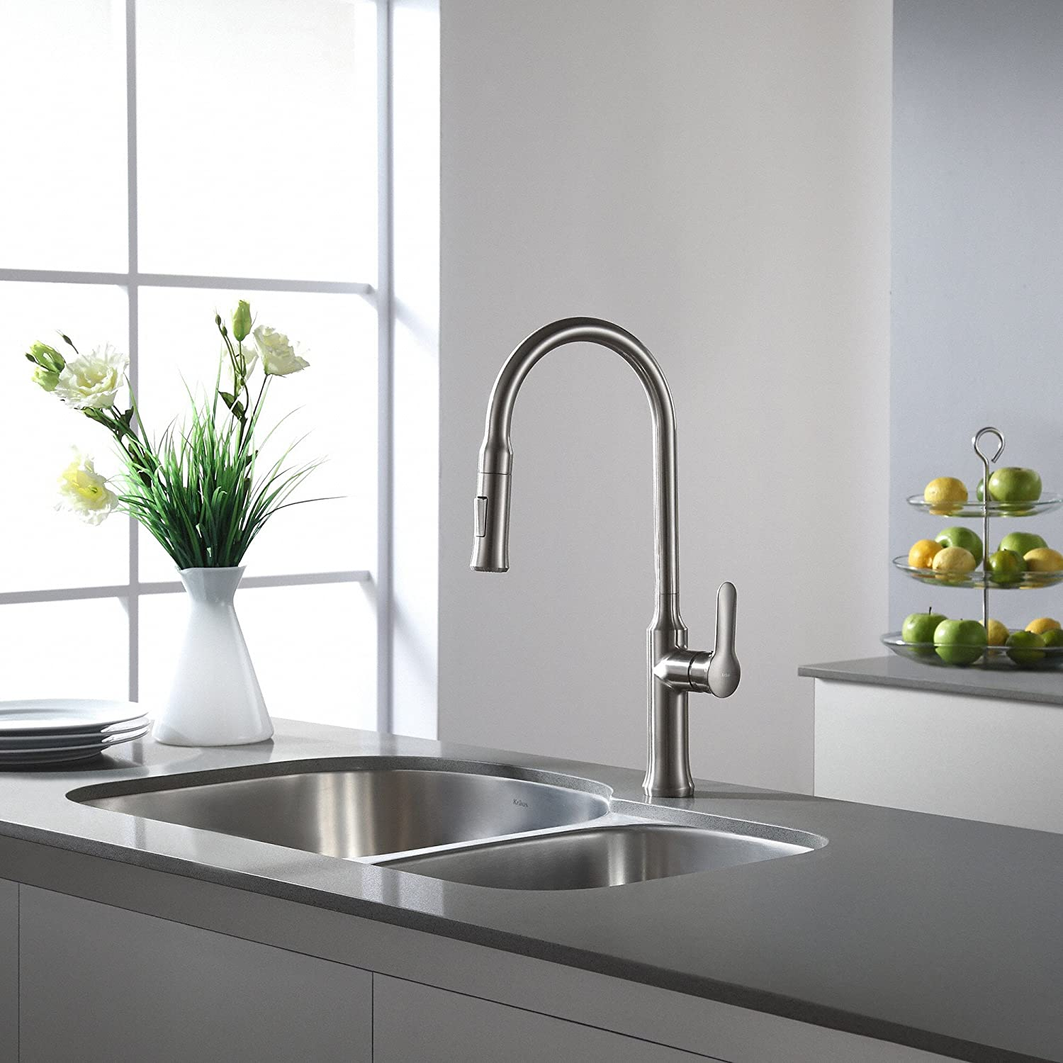 Captivating Kraus KPF 1630SS Nola Single Lever Pull Down Kitchen Faucet Stainless Steel  Finish     Amazon.com