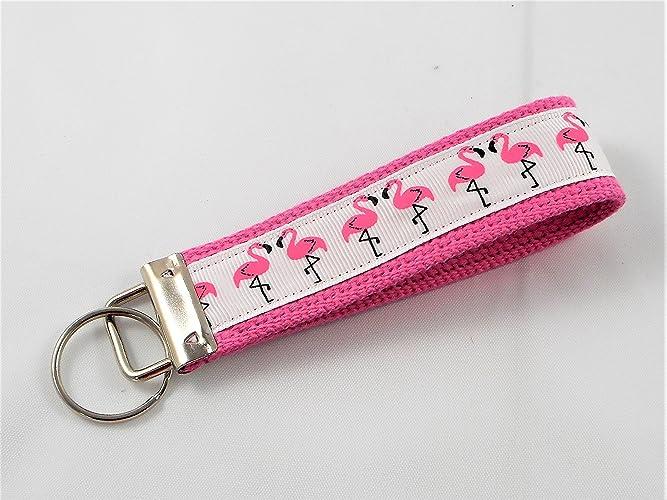 Key Fob Keychain >> Amazon Com Pink Flamingo Ribbon Wristlet Key Fob Keychain Pink