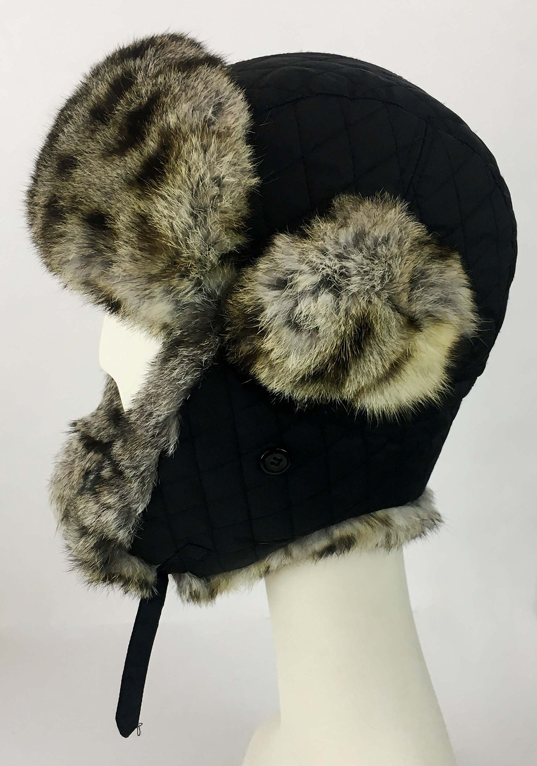 surell Trapper Aviator Hat with Rabbit Fur Trim - Warm Bomber Trooper Hat - Perfect Winter Luxury Gift (Leopard) by surell (Image #3)