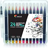 24 Waterbrush Pens and 1 Aqua Brush by Zenacolor - Watercolour Brush Pens with Water-Based and Non-Toxic Ink - Soft and Flexible Tips Perfect for Calligraphy, Adult Coloring or Manga Drawing
