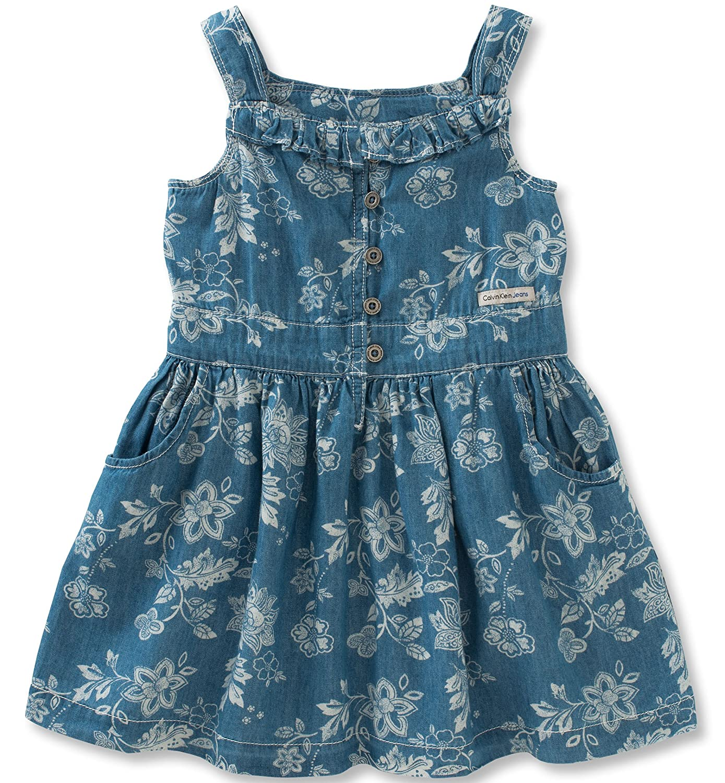 7a7a00777f16 Amazon.com  Calvin Klein Girls Straps Denim Dress  Clothing