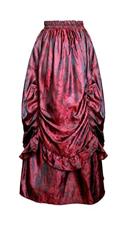 7140b5f263 Cykxtees Victorian Steampunk Gothic Theater Bustle Long Paisley Skirt (Black  Red)